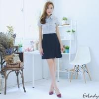 [EE-LADY] plain side slit suit skirt
