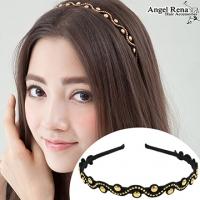 (Angel Rena)[Angel Rena] wavy suede bright beads headband - black