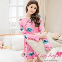 lingling A2562-01 full size - a vibrant English letters Dress milk silk pajamas smiling face (sweet deep powder)