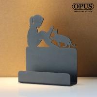 (OPUS)[OPUS Dongqi Metalworking] European wrought iron reading girl card holder (classic black) business card holder business card holder business car