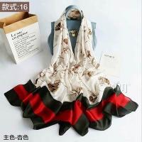 (Osun)【Osun】Autumn and winter high-end gifts imitation silkworm silk satin texture silk scarf European and American print beach shawl scarf (style: 16