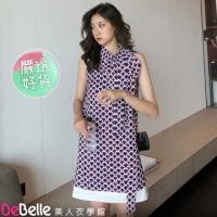 """""""DeBelle beauty clothing school"""" Han Yuan temperament koi print collar collar tie A word skirt sleeveless dress"""