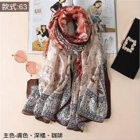 (Osun)【Osun】Autumn and winter high-end gifts imitation silkworm silk satin texture silk scarf European and American printed beach shawl scarf (style: