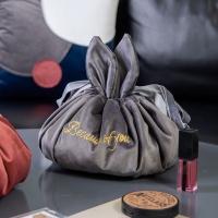 Nordic style retro velvet cute rabbit ear cosmetic bag-navy blue
