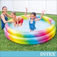 (lifecode)【INTEX】Graduated Rainbow Round Inflatable Pool (58449)