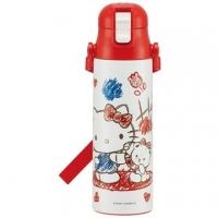 小禮堂 Hello Kitty 兩用彈蓋保溫瓶附背帶 兒童水壺 隨身水壺 超輕量不鏽鋼 580ml (紅白 塗鴉)