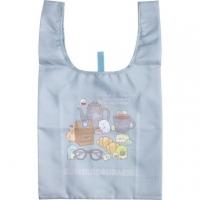 小禮堂 角落生物 折疊尼龍環保購物袋 環保袋 側背袋 (淺藍 眼鏡)