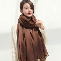 (幸福揚邑)[Happy Yangyi] Korean style cotton and linen scarf all-match all-match silk scarf oversized shawl-coffee