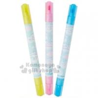 小禮堂 大耳狗 日製雙頭螢光筆組《3入.綠.抱玩偶》標示筆.彩色筆.記號筆
