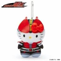 小禮堂 Hello Kitty x 假面騎士555 絨毛玩偶娃娃吊飾《黑紅》掛飾.鑰匙圈