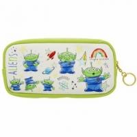 小禮堂 迪士尼 三眼怪 方形皮質拉鍊筆袋《白綠.多動作》化妝包.收納包.鉛筆盒