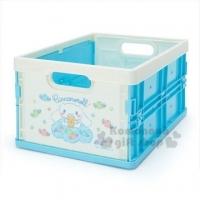 小禮堂 大耳狗 塑膠折疊無蓋收納箱《M.藍白.雲上》可堆疊.收納盒.收納籃