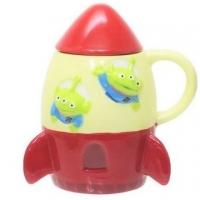 小禮堂 迪士尼 三眼怪 火箭造型陶瓷馬克杯附蓋《米紅》咖啡杯.茶杯