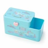 "Small auditorium Big-eared dog Plastic flip-top double-grid pen holder storage box ""Blue Unipod"" cotton box. Brush holder"