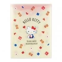 小禮堂 Hello Kitty A4資料本資料夾 透明文件袋 檔案夾 文件夾 (米紅 小熊)
