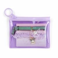 小禮堂 酷洛米 蕾絲緞帶彈力髮圈 附收納包 造型髮束 造型手環 (2入 紫黑)