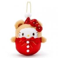 小禮堂 Hello Kitty 亮片絨毛玩偶娃娃吊飾《棕紅》掛飾.鑰匙圈.聖誕