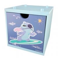 小禮堂 迪士尼 史迪奇 木製積木盒 抽屜盒 文具盒 桌上型收納盒 (藍 衝浪)