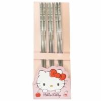 小禮堂 Hello Kitty 不鏽鋼筷組 鐵筷 環保筷 304不鏽鋼 (3入 銀 LOGO)