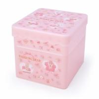 小禮堂 兔媽媽 方形塑膠雙層收納盒 附托盤蓋 置物盤 小物收納 (粉 滿版花)