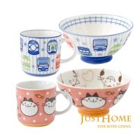 Just Home日本製童趣生活陶瓷4件兒童餐具組(馬克杯+飯碗)