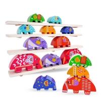 【KTOY】Elephant Wooden Stacked Balance Beam