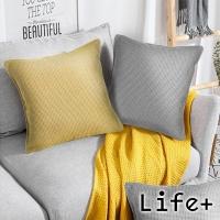 Life+ 純色系加厚亞麻編織抱枕(灰白)
