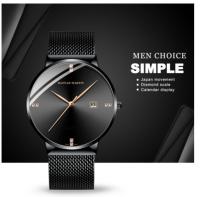 M-Men business waterproof watch with diamond simple quartz watch black color