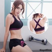 (Naya Nina)Naya Nina [color] play! Weight cross the United States back sports bra S-XL (Black)