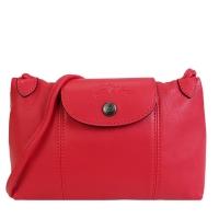 (longchamp)LONGCHAMP LE PLIAGE CUIR Series Lambskin Black Buckle Clutch / Crossbody Bag (Red)