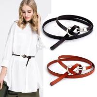 (狐狸姬)Fox Ji, polished oil-finished silver-head leather thin belt belt