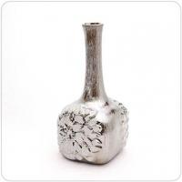 Ceramic hairline pattern, silver-plated rose totem, square bottom slender flower / vase / ornament / decoration [Athena]