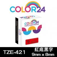 (Color24)[Color24] for Brother TZ-421 / TZe-421 Red Black Label Tape (Width 9mm)