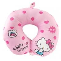 Small Hall Hello Kitty Fluffy U-shaped Neck Pillow Neck Pillow Travel Pillow Nap Pillow (Pink Diandian)