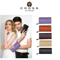 (cross)CROSS top calfskin woven pattern zipper long clip in various colors