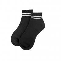 Unisex Comfortable Breathable Sport Sock Cushion Base Sock Mid calf Quarter Crew Sport Sock-Black with white stripes