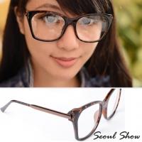 (Seoul Show)Seoul Show cat eye box plain glasses 2049 Leopard