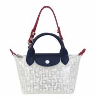 (longchamp)LONGCHAMP LE PLIAGE LGP series transparent PVC short handle mini shoulder / portable dual dumpling bag (white)