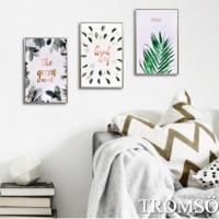(TROMSO)TROMSO Nordic life prints have frame paintings - gold mining green leaves WA92 (three sets)