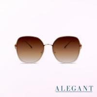 (ALEGANT)[ALEGANT] Light fashion gradient olive brown jelly perspective metal frame design sunglasses/UV400 sunglasses