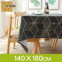 (Wood)Pina. Wood] black and white geometric cotton tablecloth dustproof cloth (140*180cm)