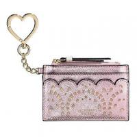 (Victoria's Secret)Victoria's Secret Angel Cutout Leather Card Holder Key Coin Purse (Rose Gold Powder)