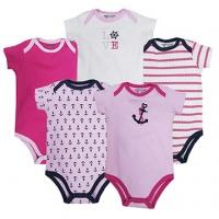 (luvable friends)US luvable friends infants short sleeve package fart clothing 5 groups _ pink anchor sailor (LF30489)