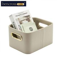 (bencross)bencross original heart | leather storage basket-warm gray-medium
