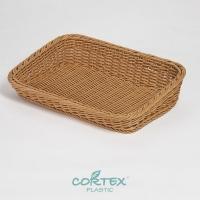 CORTEX 烘焙陳列籃(不鏽鋼304加強) 前低後高 矮型45cm 卡其色