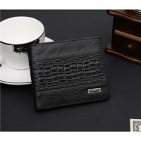 JINBAOLAI GT1706BK leather stitching crocodile pattern short leather clip black