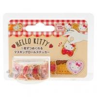 小禮堂 Hello Kitty 日製造型貼紙紙膠帶《紅棕.餅乾》標籤貼.裝飾貼.黏貼用品