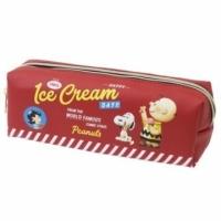 小禮堂 史努比 皮質雙層拉鍊筆袋《紅.冰淇淋》化妝包.收納包.鉛筆盒