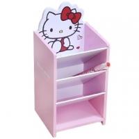 小禮堂 Hello Kitty 桌上型木製直式四層斜口收納盒《粉》置物盒.筆筒.刷具筒