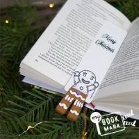 (MyBookmark)Gift myBookmark Hand Bookmark - Gingerbread man playing hide and seek